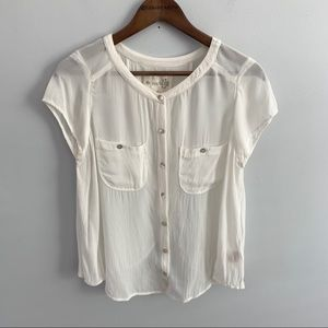 We The Free | White Cream Viscose Sheer Top Size S